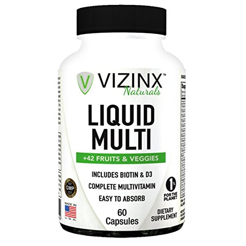 VIZINX Liquid Multi + 42 Fruits And Veggies Capsules 60 CT, is a complete liquid multivitamin that contains a blend of vitamins, minerals, vegetables, and fruits. Includes Biotin, Vitamin D3 & Iron. by VIZINX