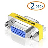 SVGA Connector, WOVTE DB HD New 15 VGA SVGA KVM Female to Female Gender Changer Adapter Coupler Pack of 2