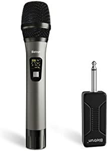 Wireless Microphone, UHF Metal Dynamic Handheld Karaoke Mic, Rechargeable Receiver (Work 6hs), 260ft Range, for Karaoke, Singing, Stage, Wedding, Speech, Karaoke Machine, Speaker, Amplifier, Mixer