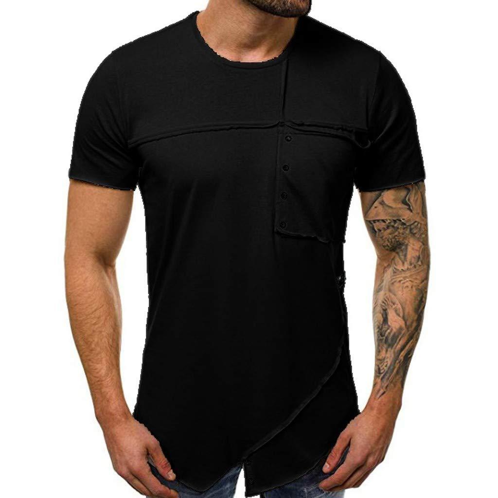 Winsummer Mens Hipster Hip Hop Elong Longline Crewneck T-Shirt Basic Pocket T Shirts Short-Sleeve Beefy Tshirts Black