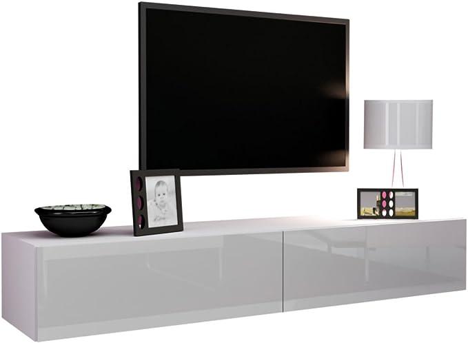 Mirjan24 Vigo/TV - Mueble bajo para televisor con Apertura sin Mango, Mueble Colgante Brillante Mate, Placa laminada/MDF, Color Blanco Brillante, 140 x 40 x 30 cm: Amazon.es: Hogar