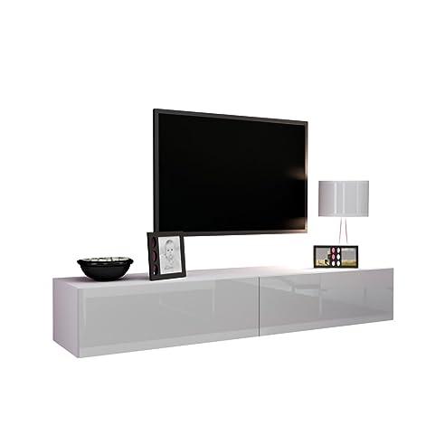 Fernsehschrank weiß  TV Schrank Vigo, Fernsehschrank, TV Lowboard mit Grifflose Öffnen ...