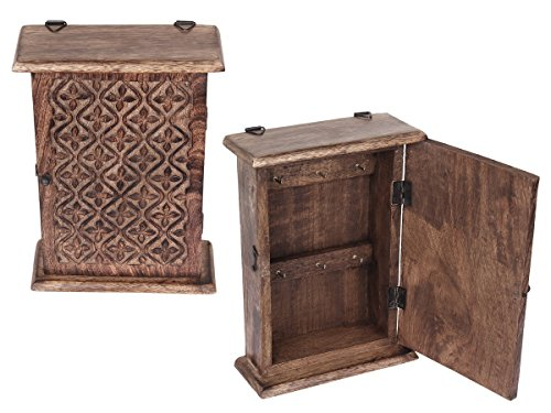 Wall Mounted Key Holder Cabinet Organizer Wooden Storage Box with Floral Motif and 6 Hooks Antique Finish (10 x 7 Inches)
