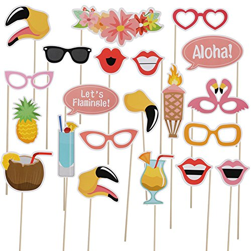 Halloween Christmas Party Photo Booth Props Kit- Pink Flamingo DIY Luau Party Supplies for Holiday Wedding Beach Pool - Graduation Kid 2017 Sunglasses
