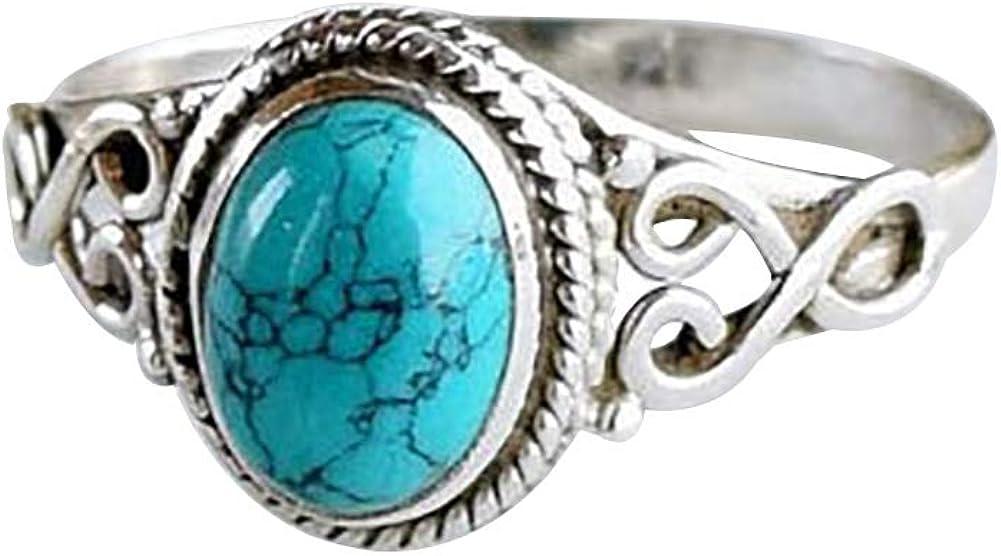 Antique Turquoise Natural Gemstone Bride Wedding Engagement Vintage Ring Gift