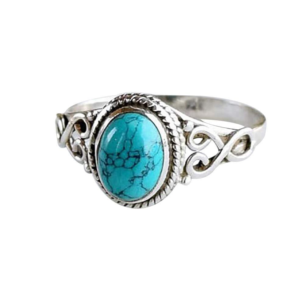 super1798 Antique Turquoise Natural Gemstone Bride Wedding Engagement Vintage Ring Gift - 10
