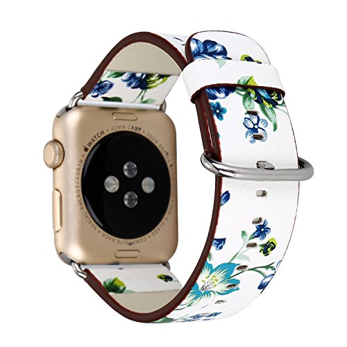 Urberry 38mm Woven Nylon Fabric Replacement Band for Apple Watch Series 2, Series 1, Sport, Edition (Flower-2) ()