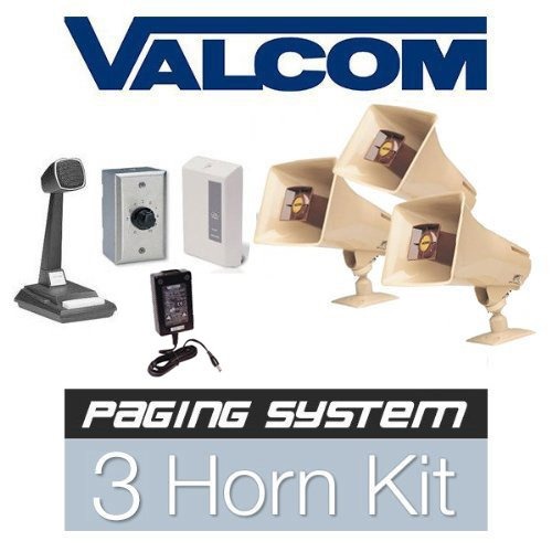 Valcom 3 Horn Speaker Paging Mass Notification and Emergency PA System Kit (Commercial Grade)