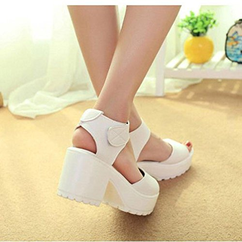 Women Open Sandali Tacco Platform Toe Peep Hunpta Alto Scarpe Chunky Bianco Con 7HxqgwHC
