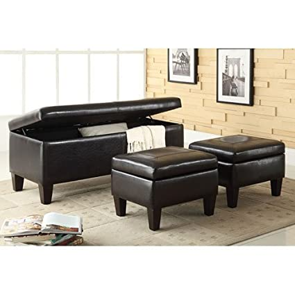 Stupendous Coaster 3 Piece Storage Bench And Ottoman By Coaster Ncnpc Chair Design For Home Ncnpcorg