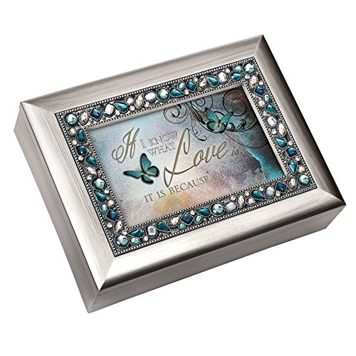 I Know What Love is Because of You Decorative Jewel Musical Music Jewelry Box - Plays You Light Up My Life by Cottage Garden