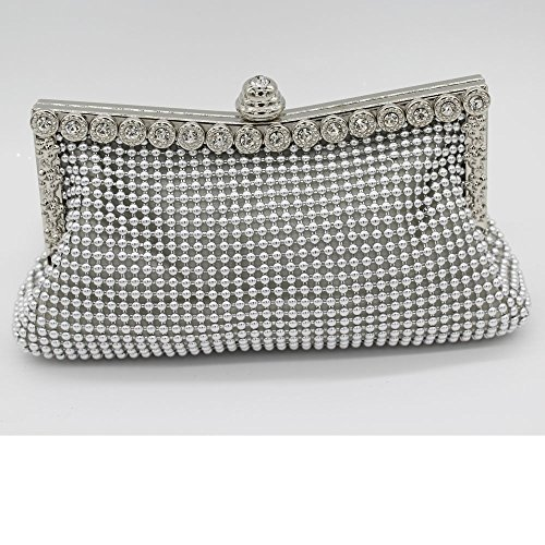 - Patty Both Women's Aluminum Framed Clutch Bags Satin Inner Pearl Evening Bags (silver)