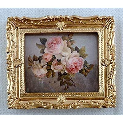 Melody Jane Dolls Houses House Miniature Accessory Bunch of Pink Roses Picture Painting Gold Frame: Toys & Games