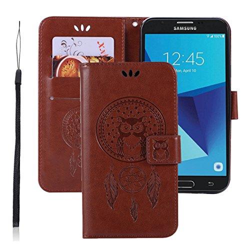 For Samsung Galaxy J3 Emerge/J3 2017/J3 Prime/J3 Mission/J3 Eclipse/J3 Luna Pro/Sol 2 Case, Booceicd PU Leather Wallet Flip Protective Case Cover with Card Slots (brown)