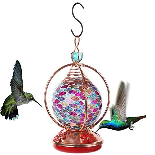 Lily's Home Mosaic Glass Hanging Hummingbird Feeder with Hanging Hook, Pink and Purple, 20 Ounce
