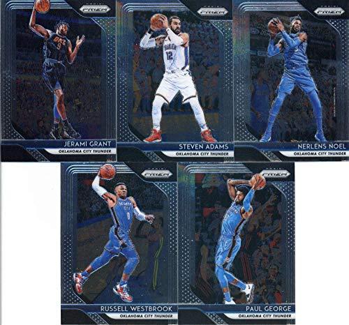 2018-19 Panini Prizm Basketball Oklahoma City Thunder Team Set (Veterans) 5 Cards: Russell Westbrook(#39), Paul George(#49), Steven Adams(#69), Nerlens Noel(#79), Jerami Grant(#89)