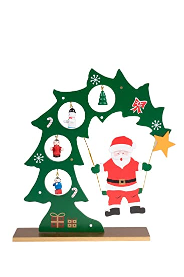 wooden table top santa swinging from christmas tree by clever creations green and red with - Christmas Tree Santa