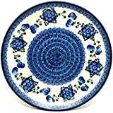 "Polish Pottery Plate - 10"" Dinner - Blue Poppy"