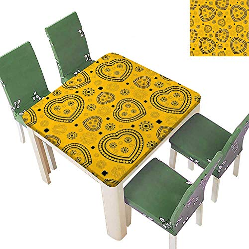Printsonne Polyesters Tablecloth Inspired Black He Tiny Circl Work Yellow and Black Wedding Birthday Party 50 x 50 Inch (Elastic Edge) (Bistro Maui)
