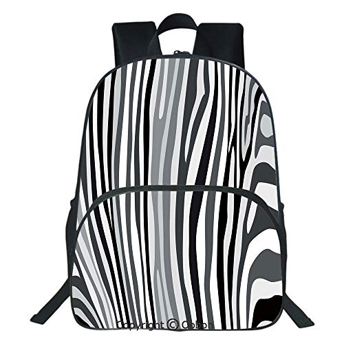 Orange Zebra Mini Backpack - Oobon Kids Toddler School Waterproof 3D Cartoon Backpack, Zebra Pattern Vertical Striped Nature Wildlife Inspired Fashion Illustration, Fits 14 Inch Laptop