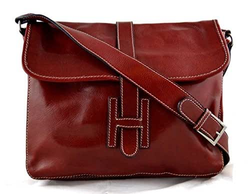 Leather hobo bag mens satchel messenger bag shoulder bag crossbody ladies leather bag crossbody made in Italy red