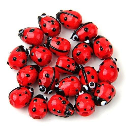 (Gleader20 Red Lampwork Glass Ladybug Ladybird Loose Beads 12mm HOT)