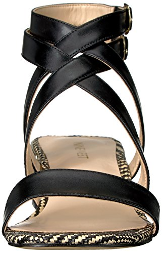 Black Women's Leather West Nine Fashion Sandals YESTA FX7AnZn5