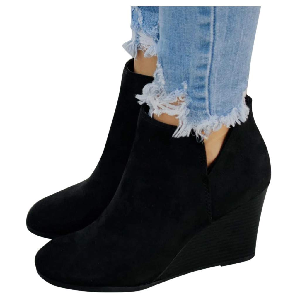 Women's Wedges Ankle Booties Suede V Cutout Comfy Boots Chunky Block Heels Boot Wide Width Wedge Shoes for Ladies (US:10.5, Black) by Dasuy