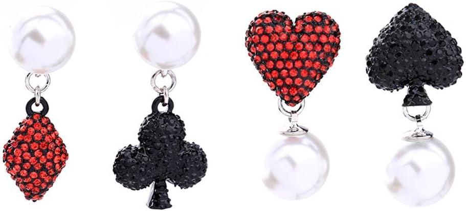 J.MeMi'S Legierung Rhinestone Perla Artificial Pendientes Cortos Colgantes Corazón Picas Jugando a Las Cartas Poker para Regalo de San Valentín Mujeres