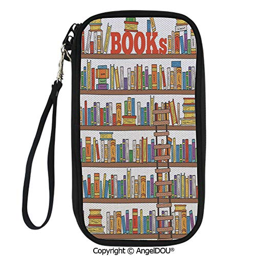 PUTIEN New Fashion Card Holder Wallets Library Bookshelf with A Ladder School Education Campus Life Caricature Illustration for Men Women Travel Business.