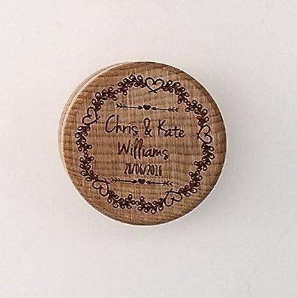 Caja para anillos de boda, de madera, con diseño floral, grabado con láser