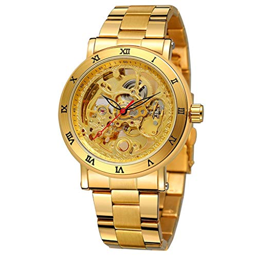 XBKPLO Quartz Watches Men's Luxury Gold Carved Transparent Dial Waterproof Automatic Mechanical Watch Temperament Luxury Strap High Grade Gold Watch ()