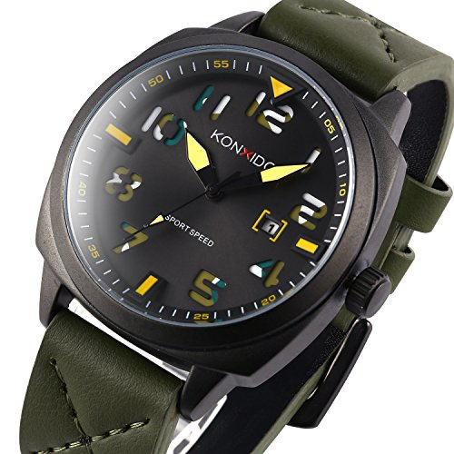 KONXIDO Mens' Sports Watches Waterproof Big Face Analog Quartz Leather Band Electronic Casual Minimalist Wristwatch Mens Gifts Fashion Classic Military Business Watch for Men Date Window Green (Automatic Big Watch Mens Square)