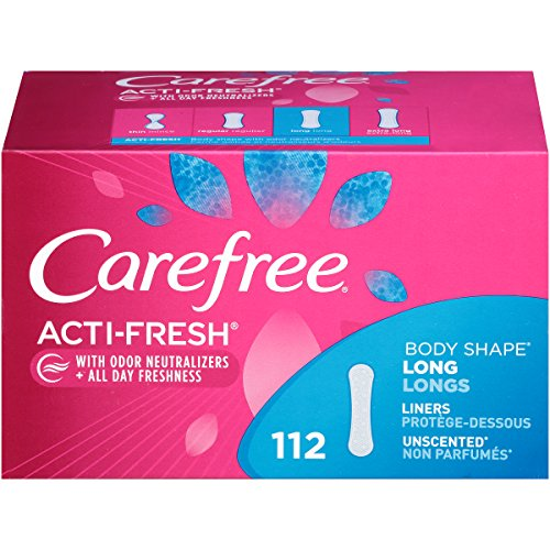 Carefree Acti-Fresh Body Shaped Panty Liners, Flexible Protection That Molds to Your Body, Long, 112 - Carefree Panty Body Liners Shape