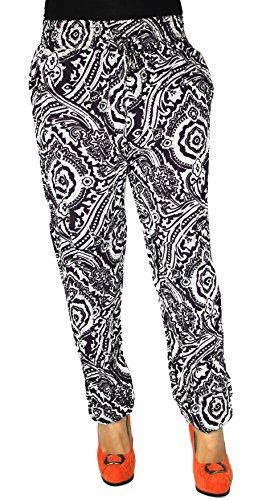 Damen Hose Haremshose Freizeithose Hose mit Muster Baumwolle Sommerhose (Schwarz 3)