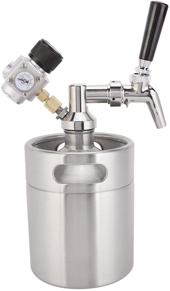 Mini Beer Keg 2L, barril de cerveza automático de acero inoxidable para fermentar, almacenar y mezclar cerveza artesanal