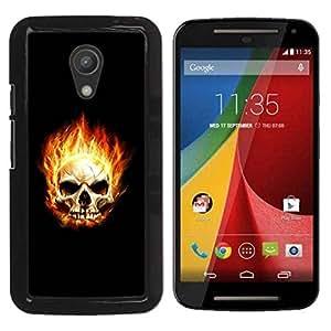 Paccase / SLIM PC / Aliminium Casa Carcasa Funda Case Cover para - Flaming Skull - Motorola MOTO G 2ND GEN II