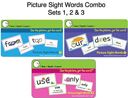 I See, I Spell, I Learn - Picture Sight Words Flashcards Sets 1, 2 & 3 Combo Pack