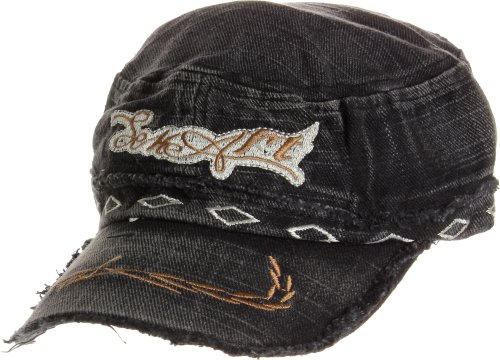 AN1225 Women's Spring Summer Character Rhombus Embroidered Denim Cadet Caps - Black