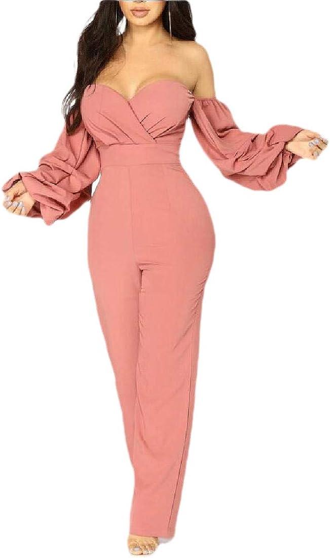 heymoney Womens Off Shoulder Ruffle Long Sleeve Front Jumpsuit Long Pants Rompers