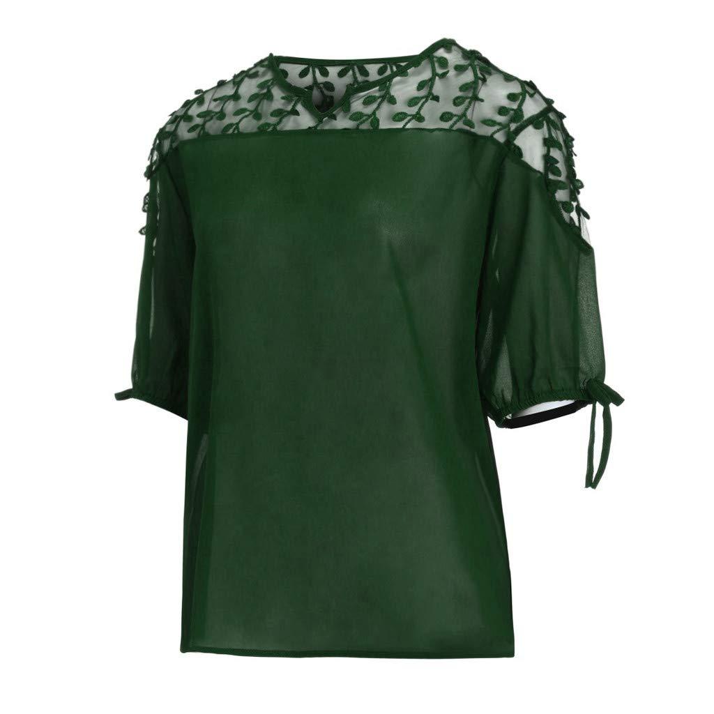 ZYUEER Damen Oberteile Frauen Gro/ße Gr/ö/ße Chiffon Band Laterne Halben /Ärmel Mesh Perspektive Top Spitze Gaze N/ähen Oben T-Shirt Bluse