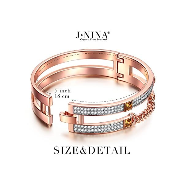 4a2c6c80f9593 Bangle Bracelet Gift for women J.NINA Rose-gold Plated heavy metals Jewelry  with Swarovski Crystal, Birthday Anniversary Graduation Christmas ...