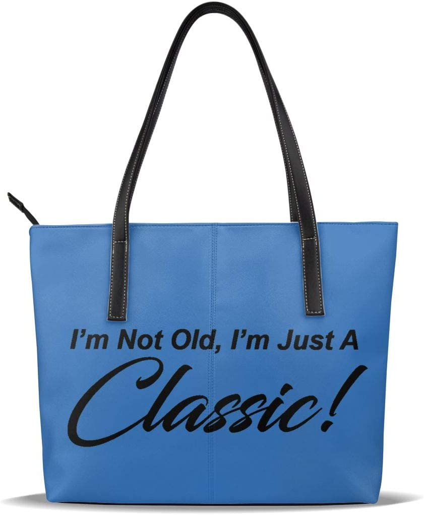 WAY.MAY Im NOT Old Im A Classic Leather Tote Bags Zippered Handbags Shoulder Bag