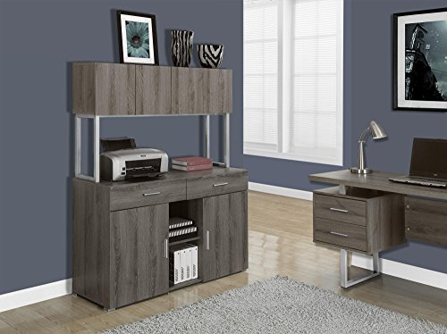 Monarch Specialties Dark Taupe Reclaimed-Look Office Storage Credenza, - Office Furniture