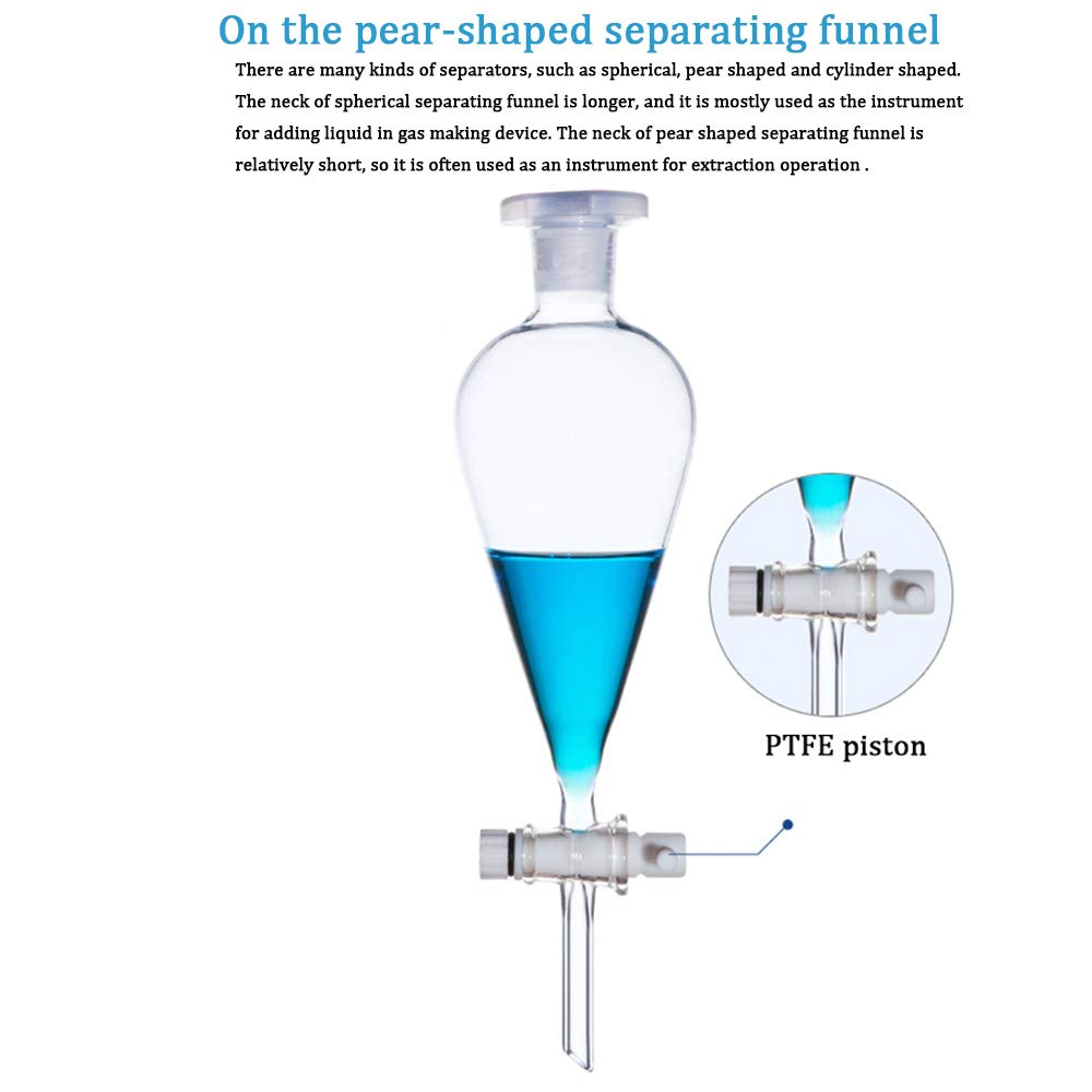Borosilicate Glass 60ml Heavy Wall Conical Separatory Funnel With Ptfe Stopcock 60ml Amazon Com Industrial Scientific