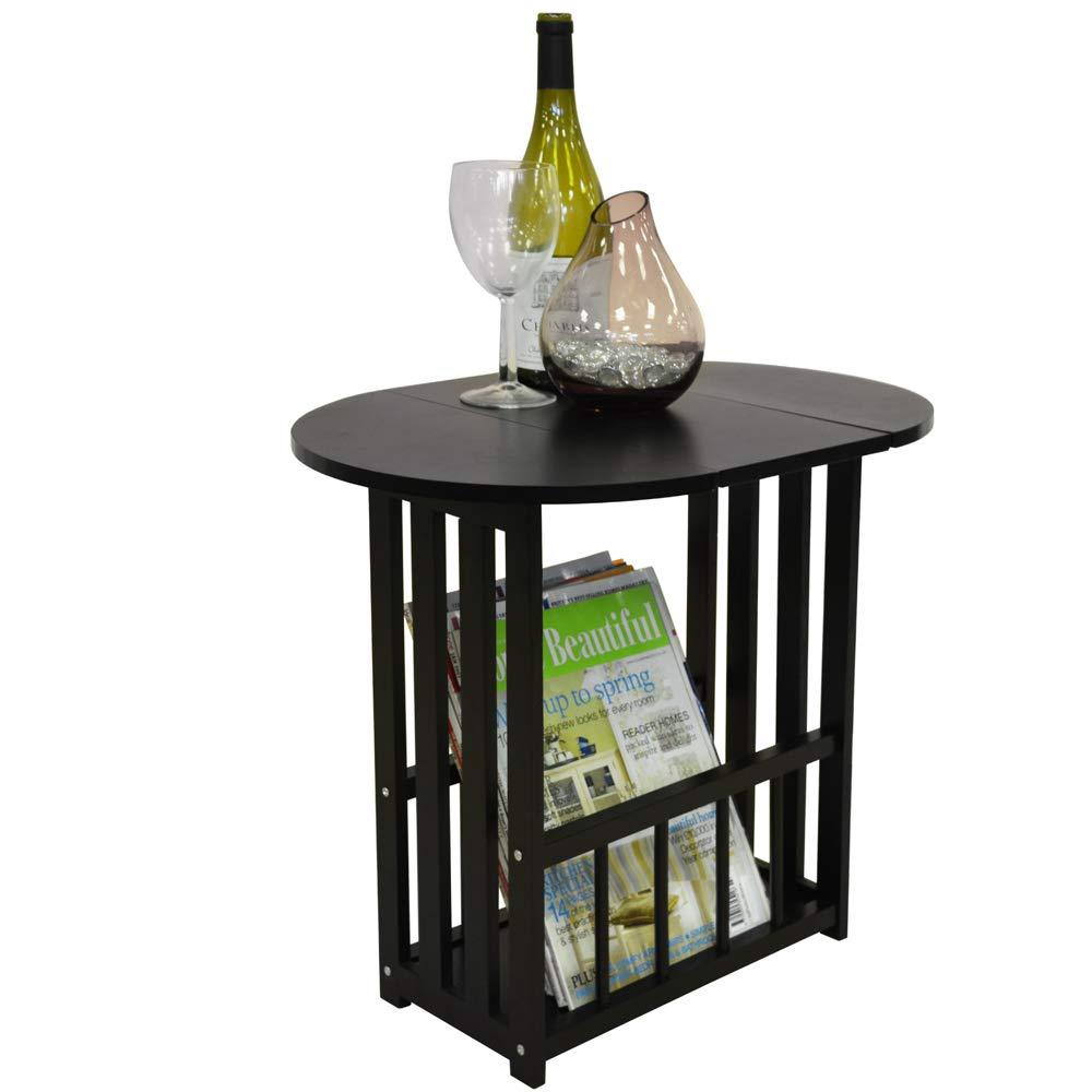 WATSONS HAUGHTON - Swivel Top Side/End Table with Storage Rack - Black