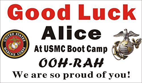 Alice Graphics 3ftX5ft Custom Personalized US Marine Corps Going Away Goodbye Farewell Deployment Party Banner Sign - Good Luck At USMC Boot Camp ()