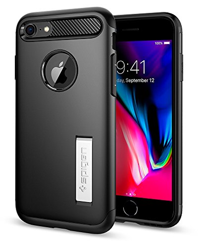 Spigen Slim Armor iPhone 7 / iPhone 8 Case with Kickstand and Air Cushion Technology Hybrid Drop Protection for Apple iPhone 7 (2016) / iPhone 8 (2017) - Black (Halo 3 Best Armor Combination)