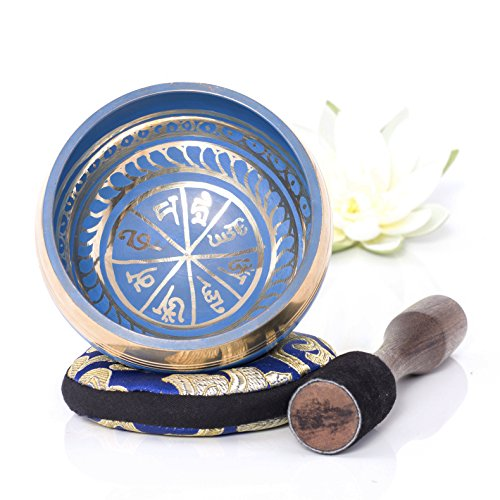 Silent Mind ~ Tibetan Singing Bowl Set ~ Blue Color Design ~ With Dual Surface Mallet and Silk Cushion ~ Promotes...