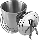 Quality Department Stainless Steel Ice Bucket With Tongs And Lid, Double Walled, 2L Silver